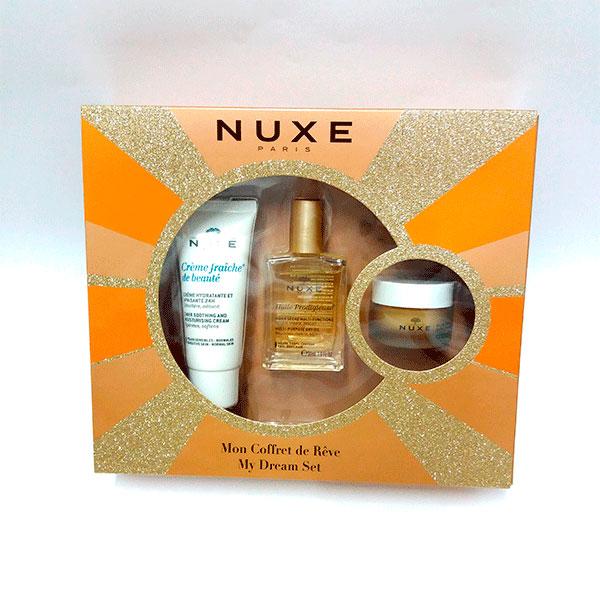 Nuxe Cofre Huile 30ml + Bálsamo Rêve de Miel + Crema Fraiche de belleza