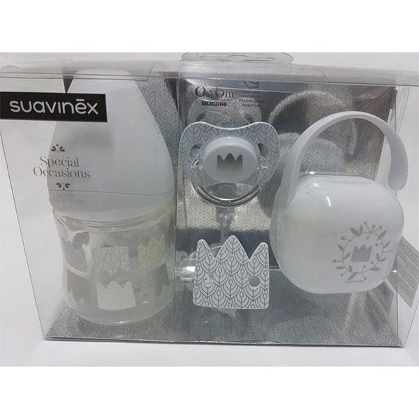 Suavinex SPECIAL OCCASIONS Set biberón,chupete,broche,portachupetes